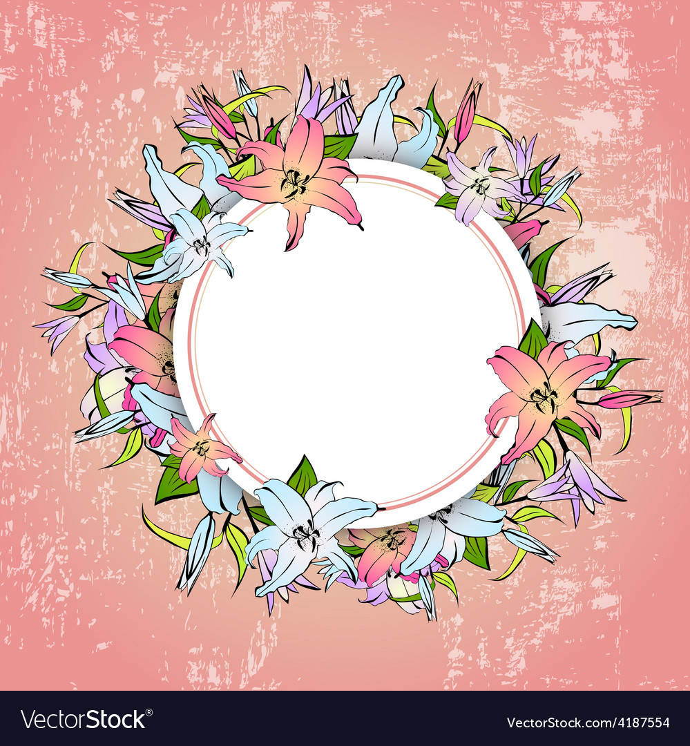 Lily Flower Round Frame vector image