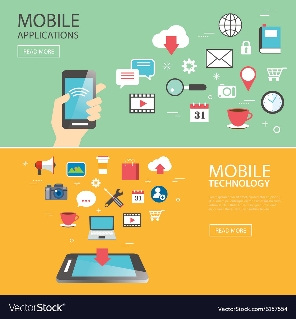 Mobile application technology banner template