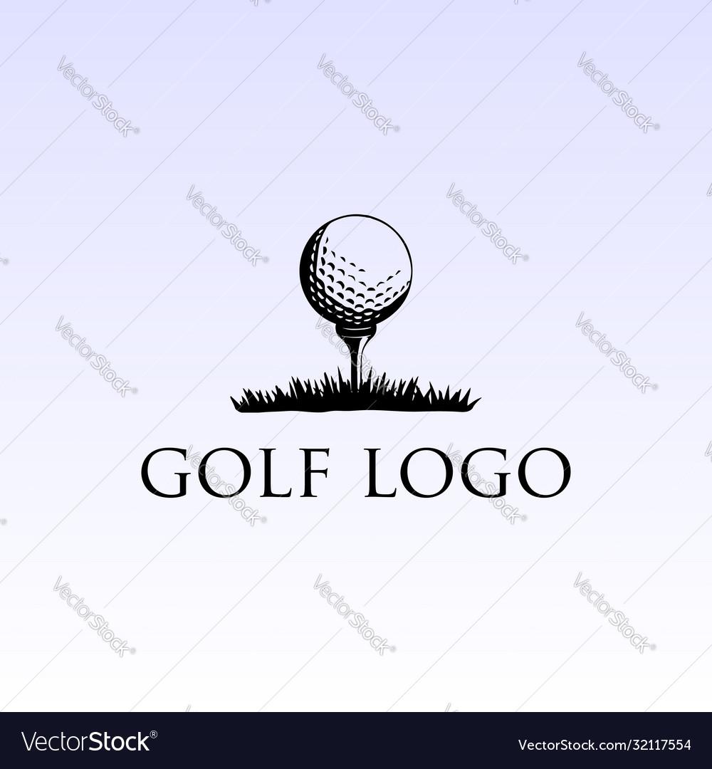 Simple retro vintage ball tee grass golf sport