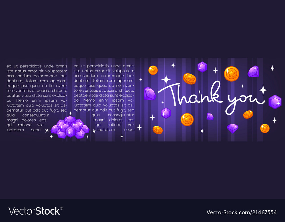 Thank you lettering coins and diamonds template