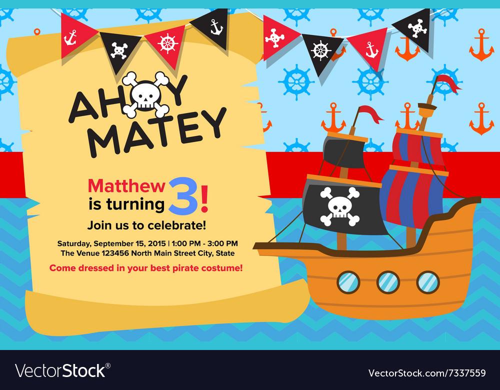 Astonishing Ahoy Matey Pirate Birthday Invitation Card Vector Image Funny Birthday Cards Online Fluifree Goldxyz