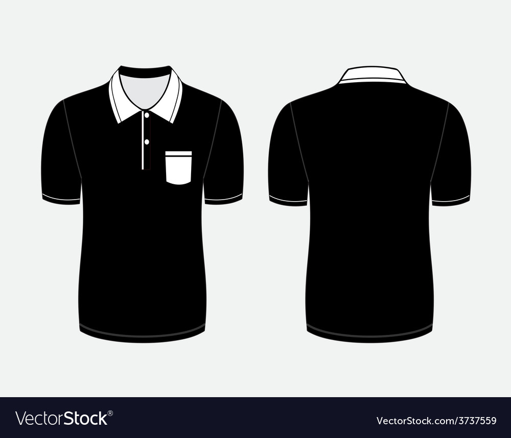 Black polo t shirt Front and back views vector image