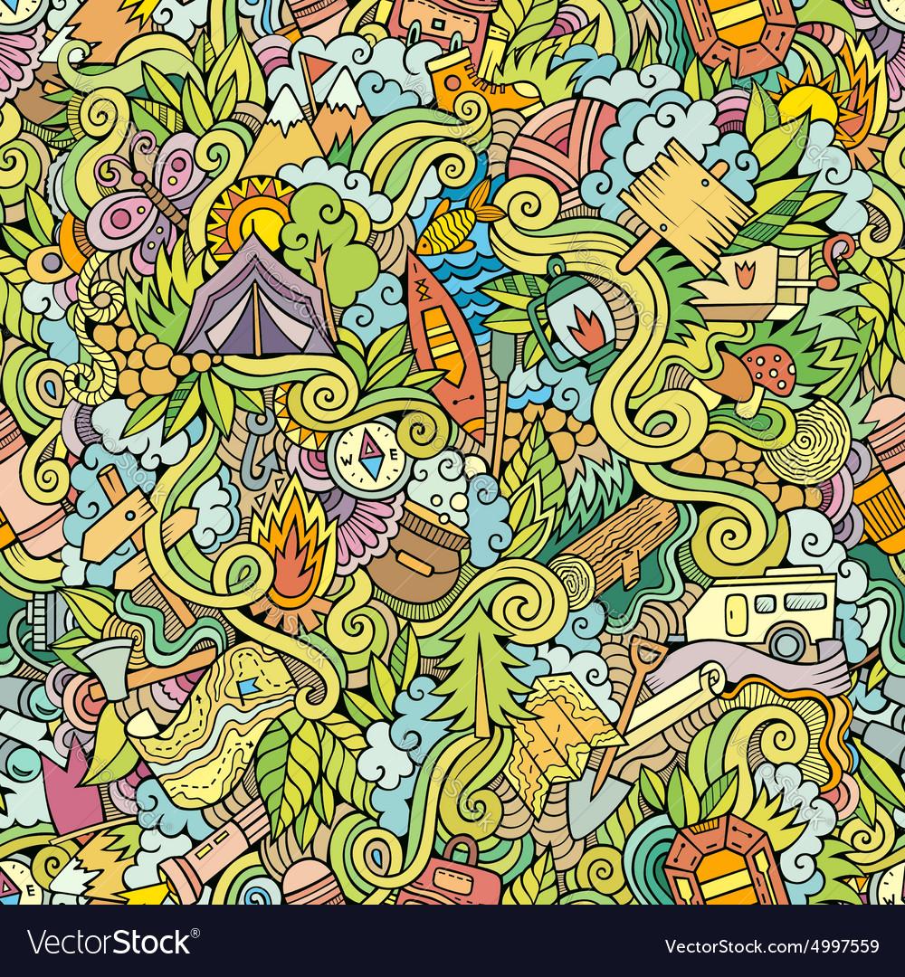 Cartoon doodles camping seamless pattern