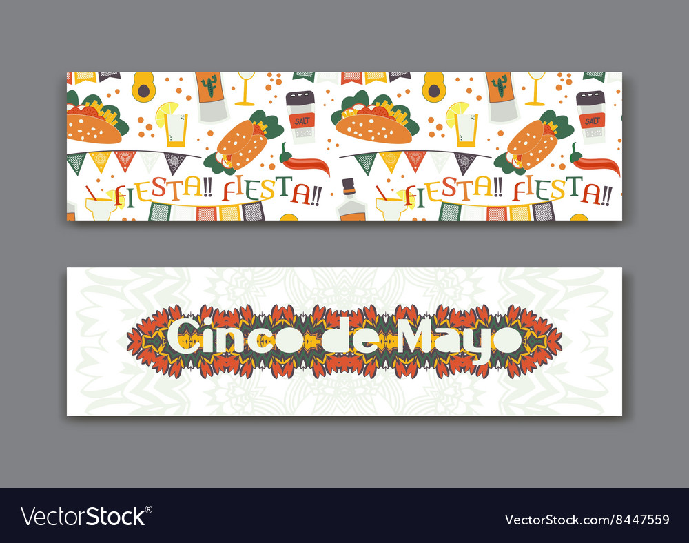 Cinco de Mayo fifth of May Day banners set