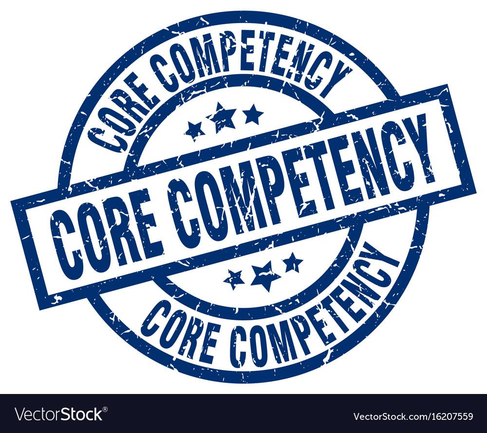 Core competency blue round grunge stamp