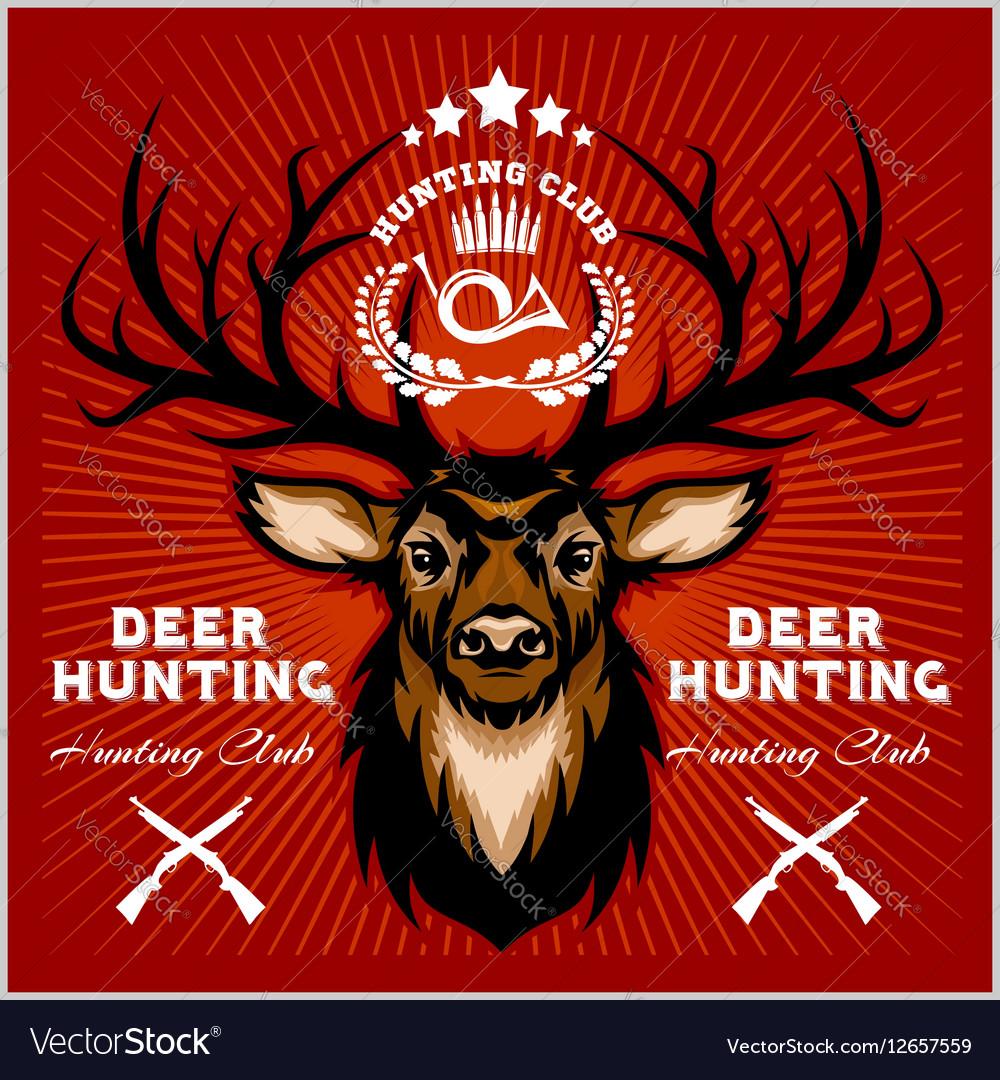 Deers Hunting club emblems set vector image