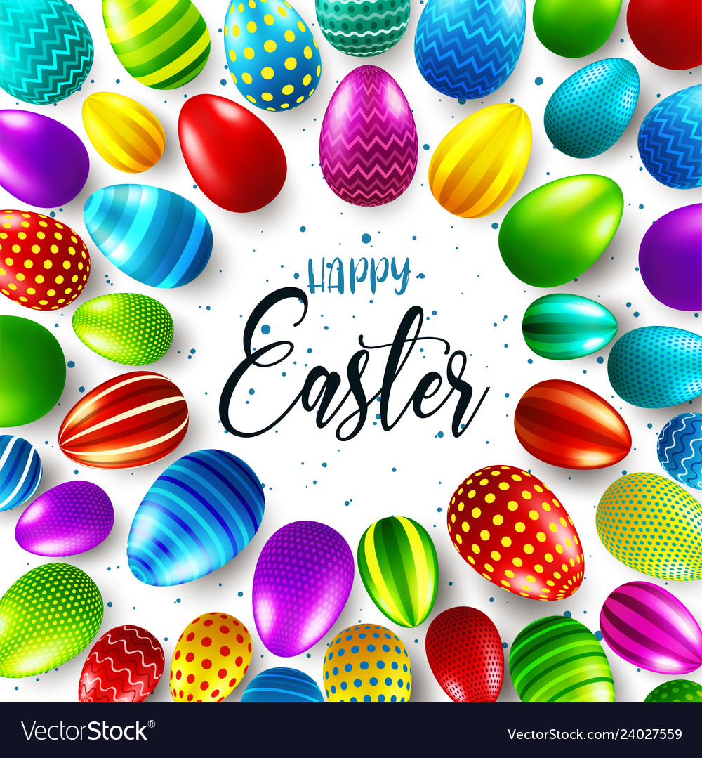Easter background with realistic painted eggs