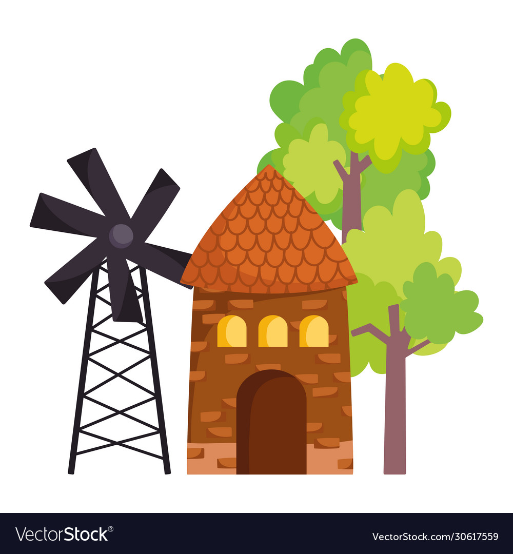 Farm Animals Windmill Barn Trees Outside Cartoon Vector Image Find this & other trees options on the unity asset store. vectorstock