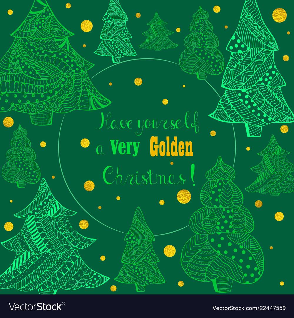 Green christmas fir trees and golden snowfall