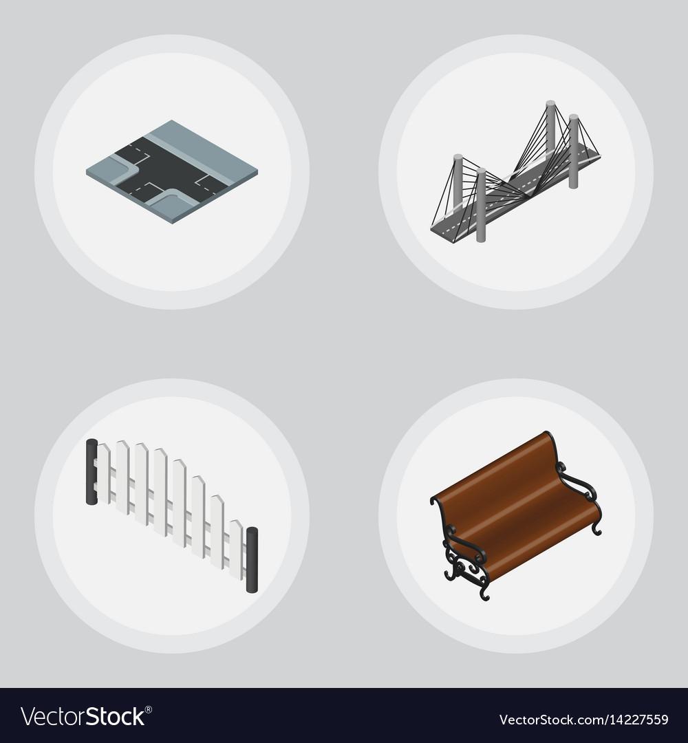 Isometric urban set of sitting barricade