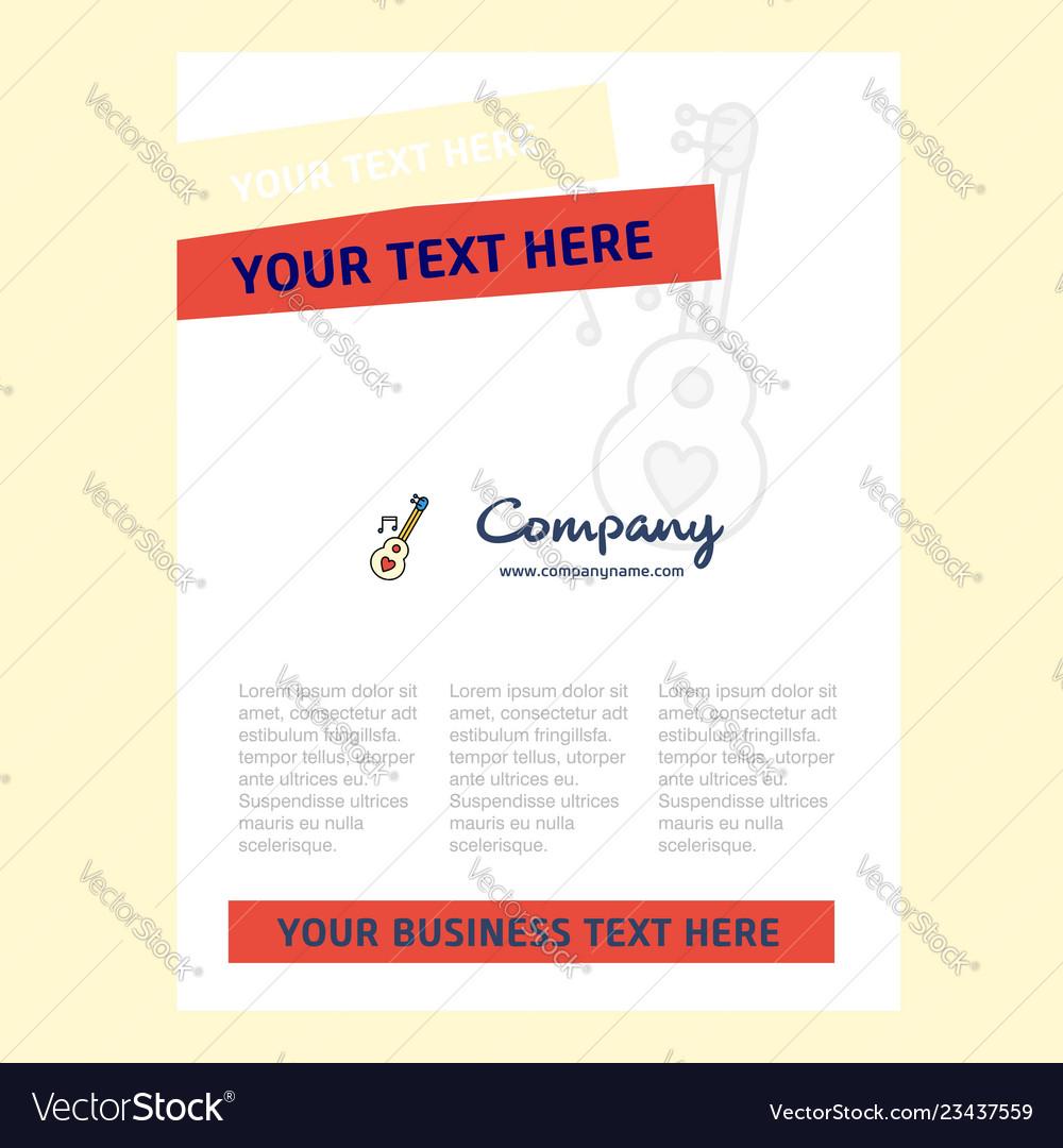 Love guitar title page design for company profile