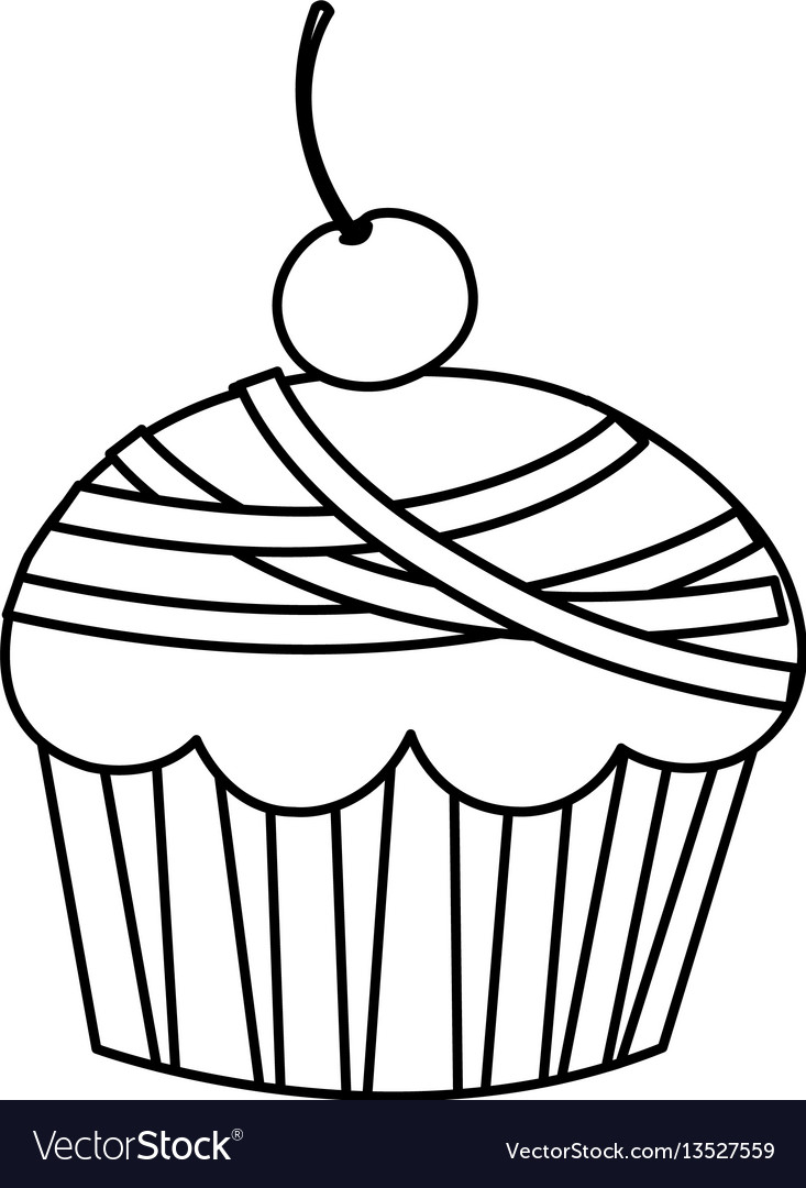 Silhouette muffin with cherry icon