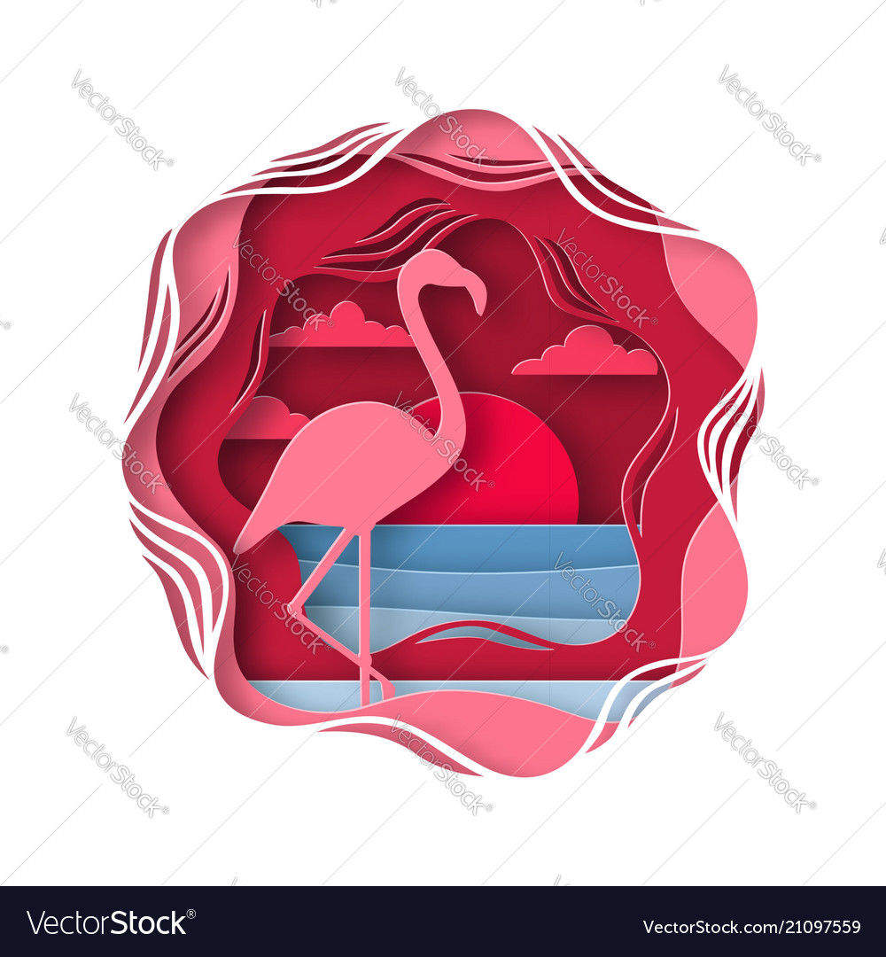 Silhouette of flamingo in origami style tropical