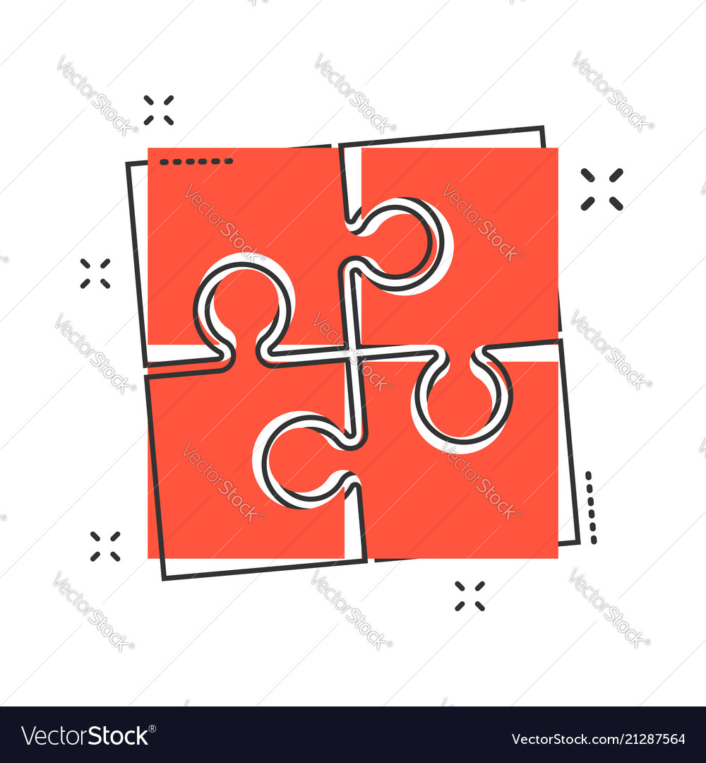 Cartoon puzzle icon in comic style jigsaw sign