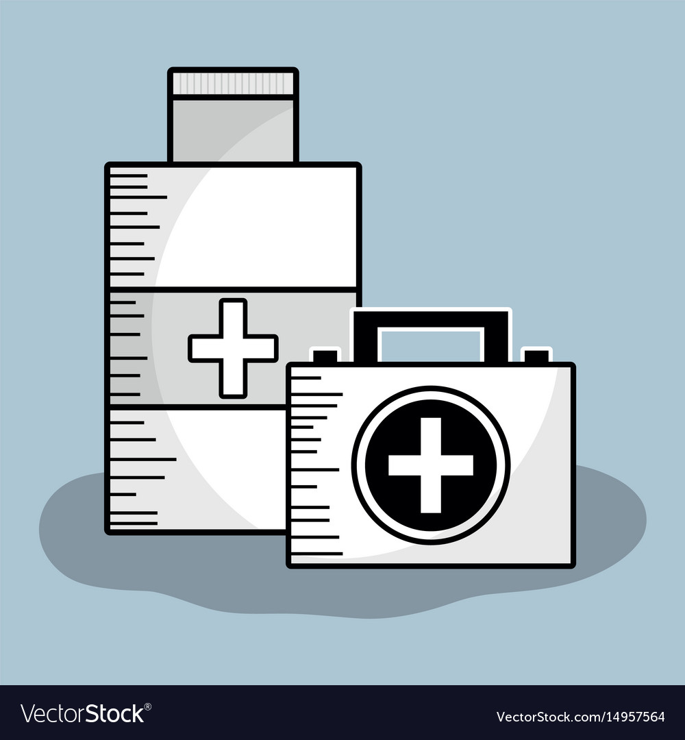 First aid briefcase with alcohol treatment vector image