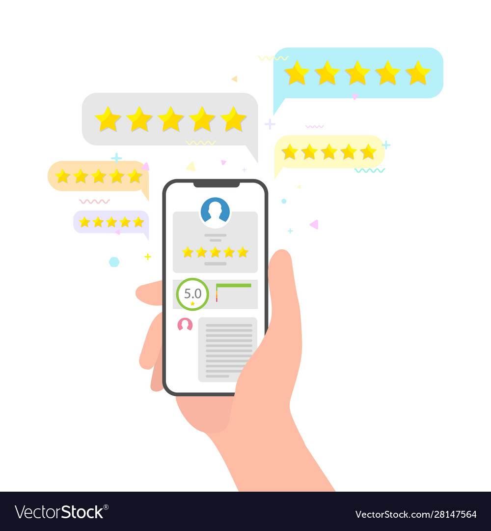 Hand holding phone and stars rating feedback