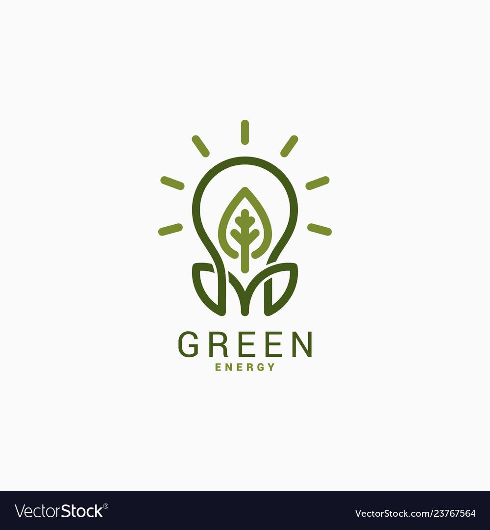 Light bulb with green leaf green energy logo