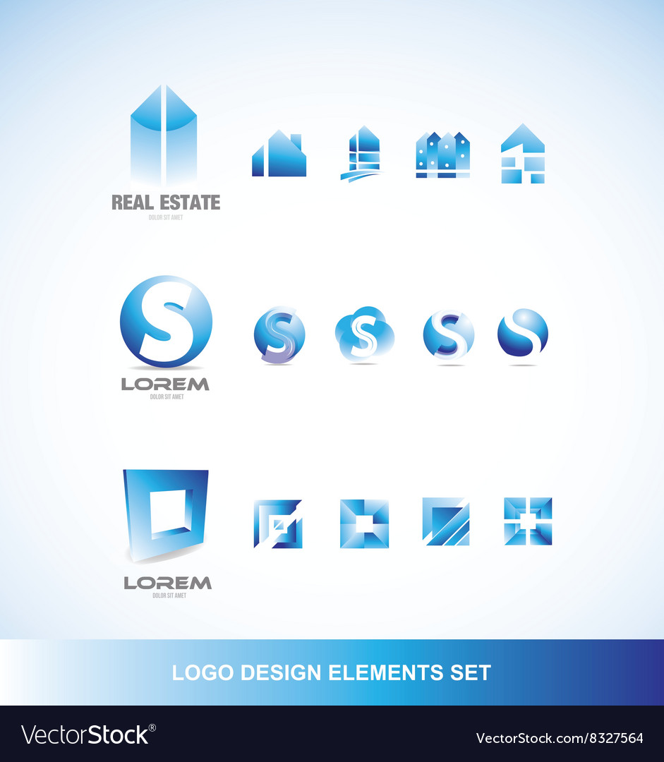Logo design elements icon set blue