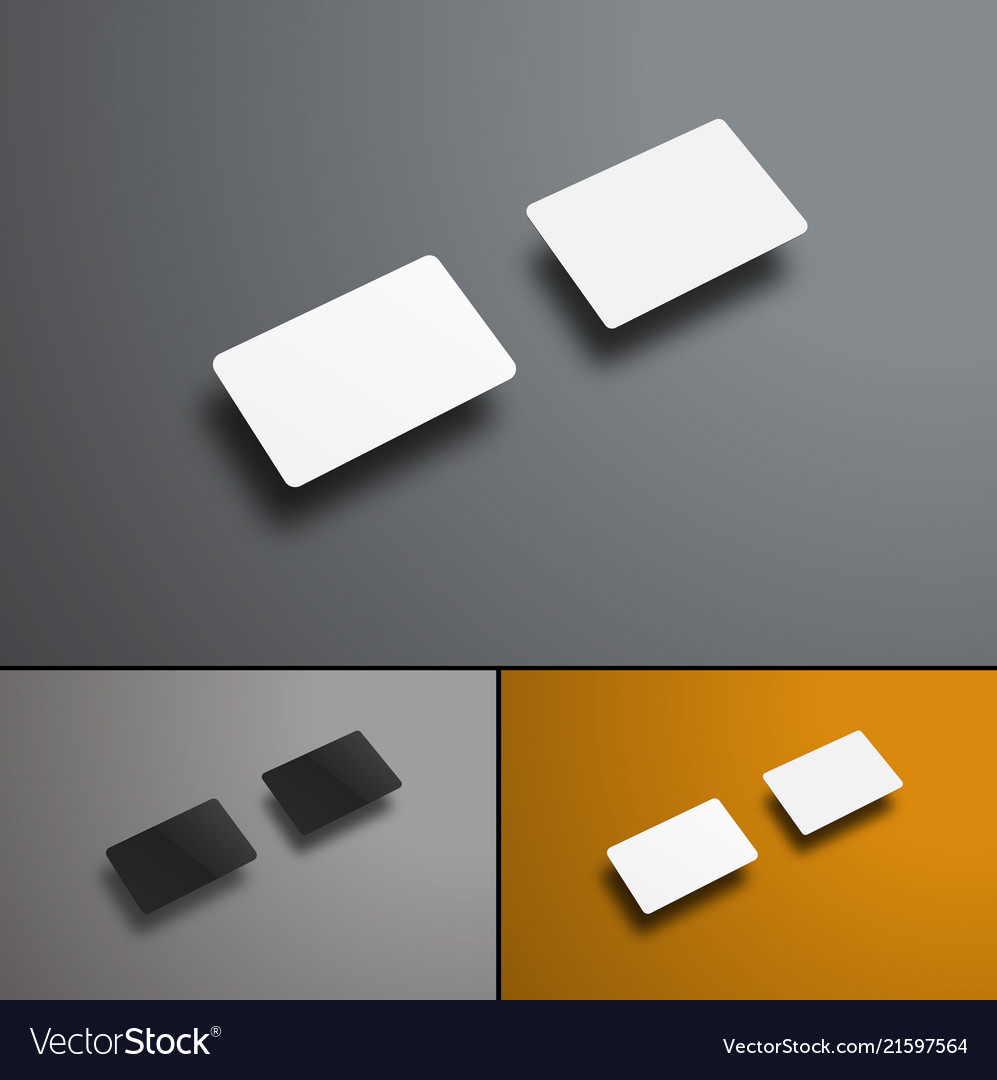 Mockup of two gift or bank cards in the future