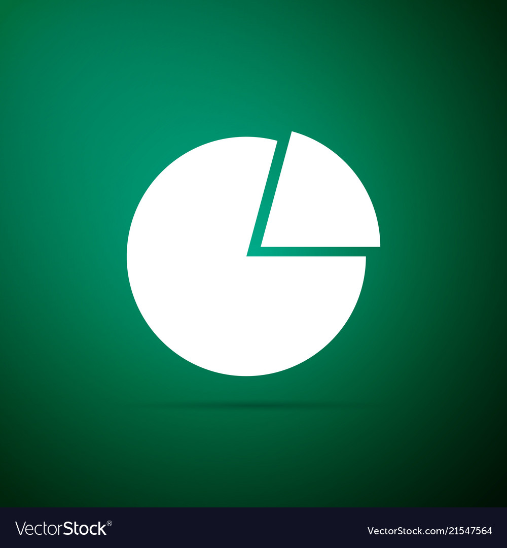 Pie chart infographic icon on green background