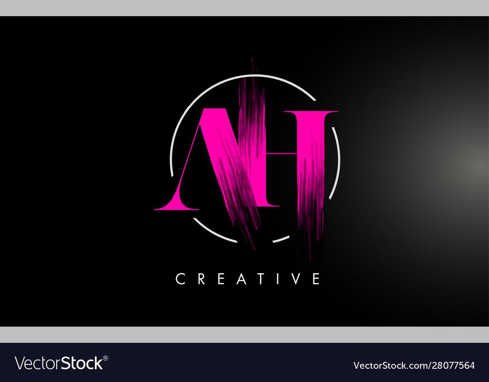 Pink ah brush stroke letter logo design