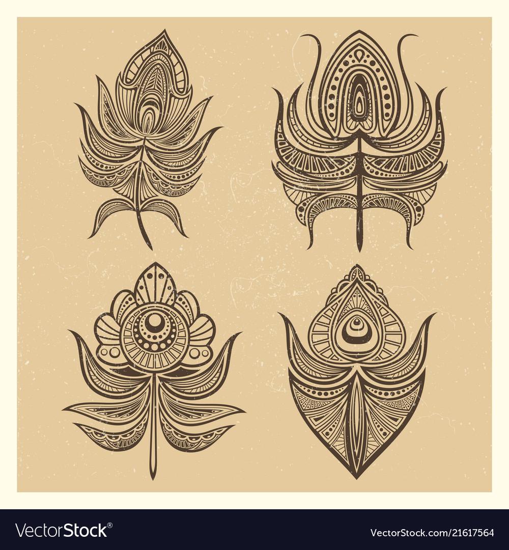 Vintage mandala style feathers