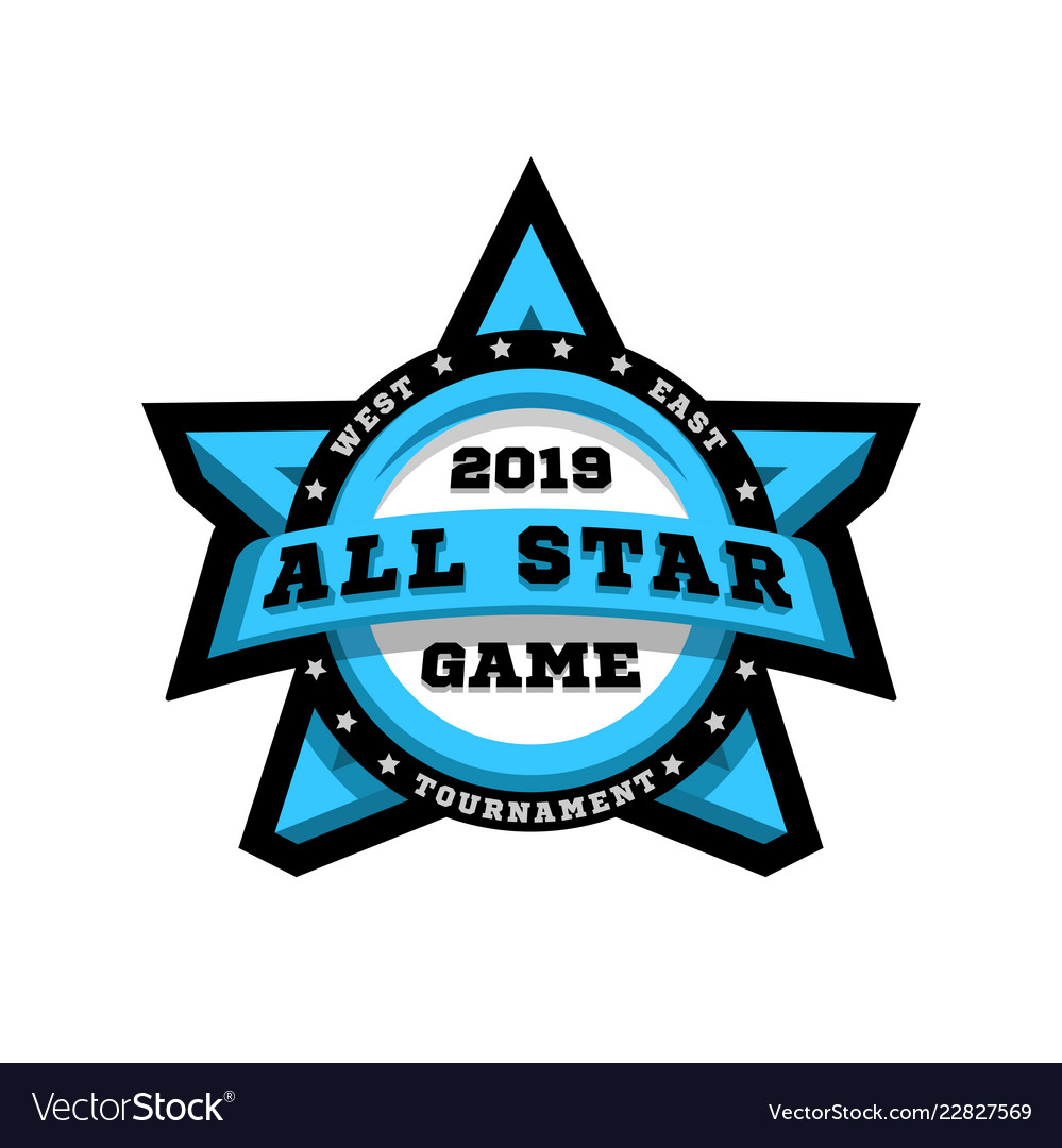 All star game sport emblem logo in the shape of
