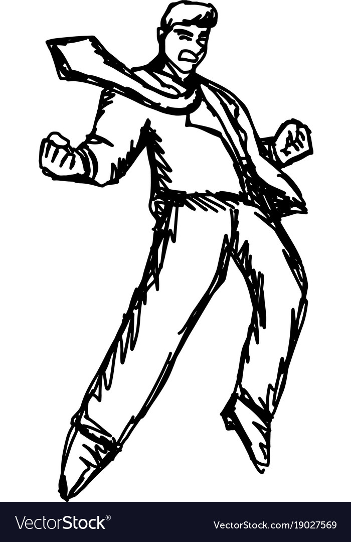 Angry businessman sketch hand drawn