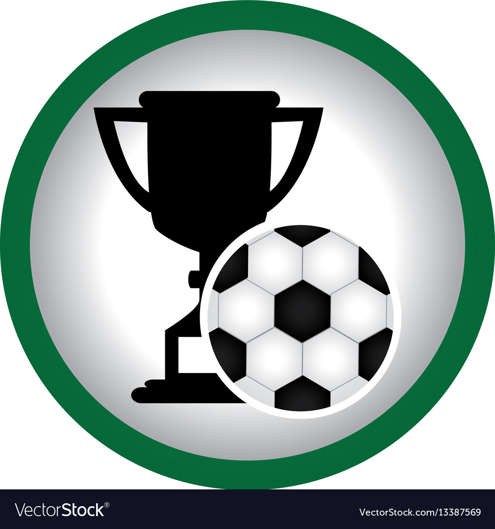 Circular frame with trophy with soccer ball