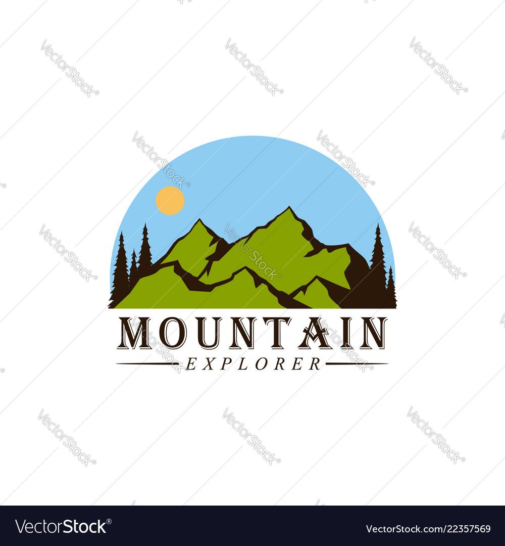 Forest mountain adventure explore logo
