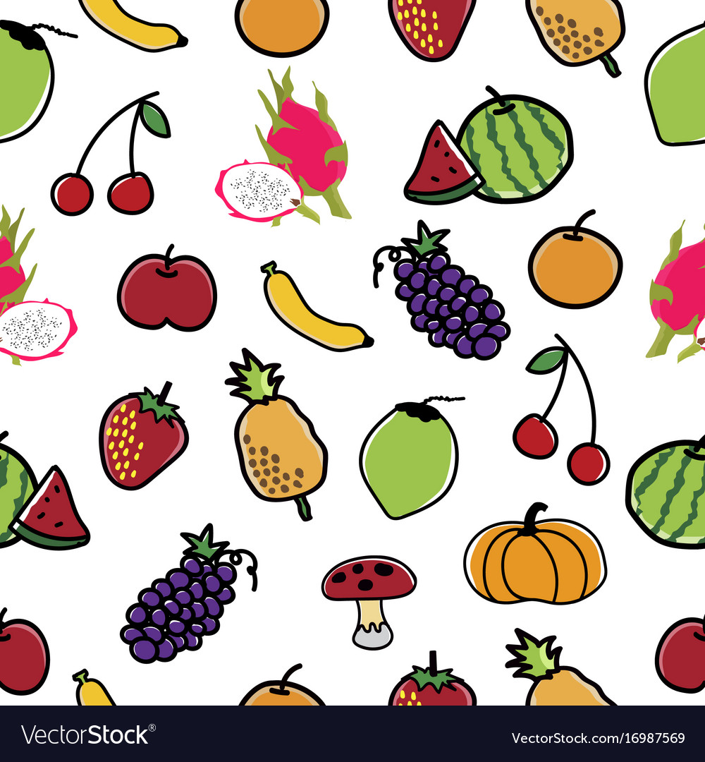 Fruit and vegetable pattern seamless background