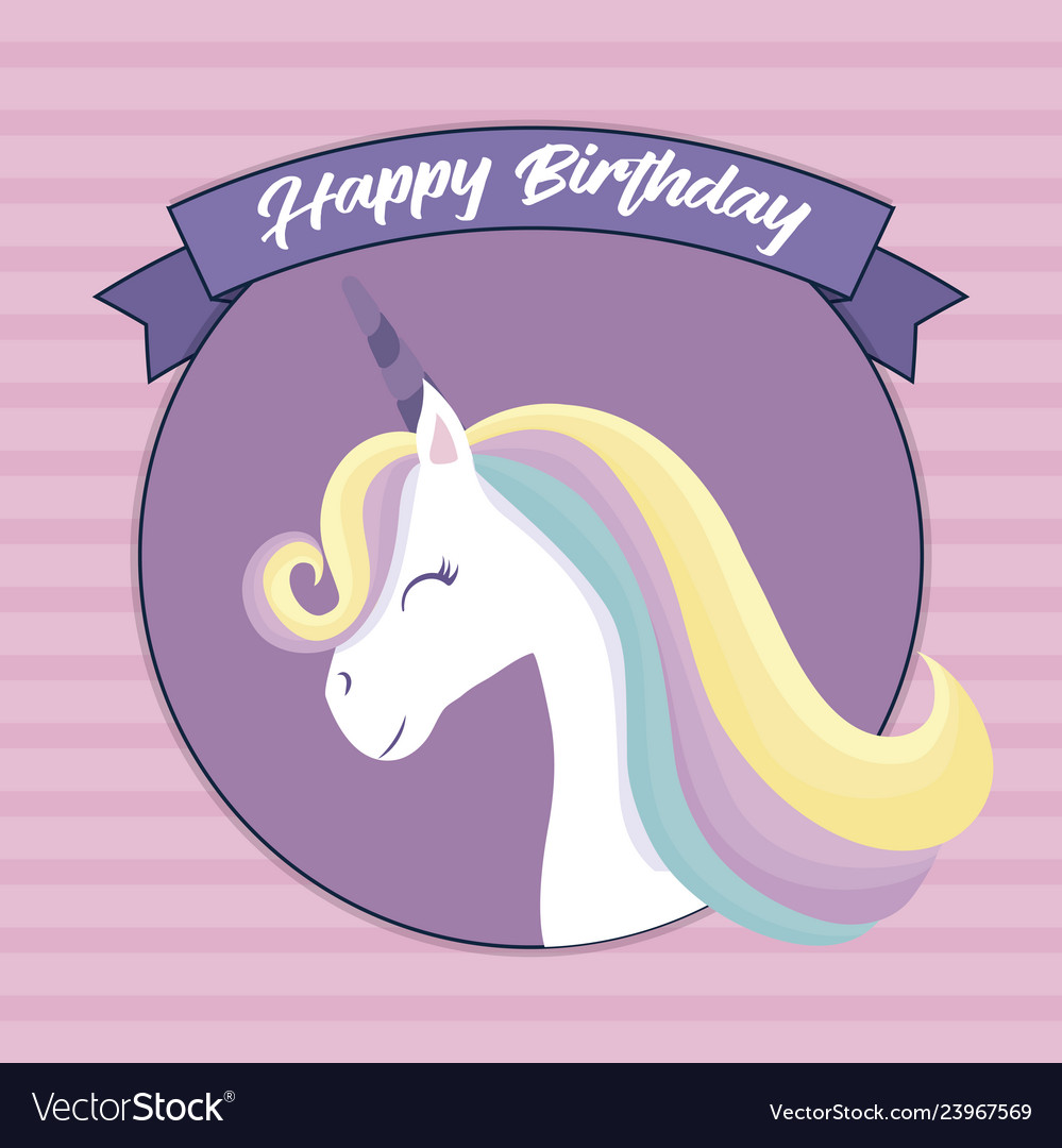 Happy Birthday Card With Cute Unicorn Head Vector Image