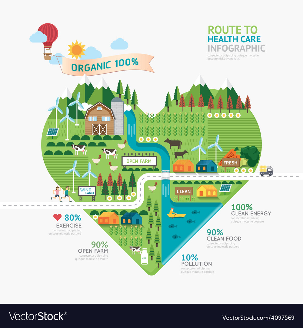 Infographic health care heart shape template