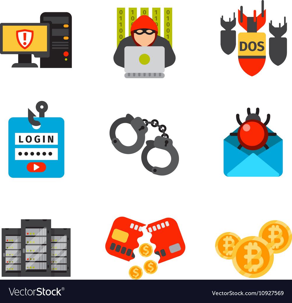 Internet Safety Icons Isolated Royalty Free Vector Image