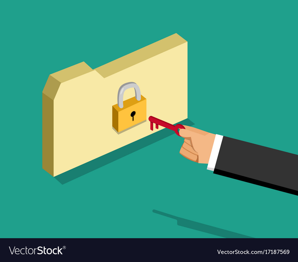 Locked folder and business man with key