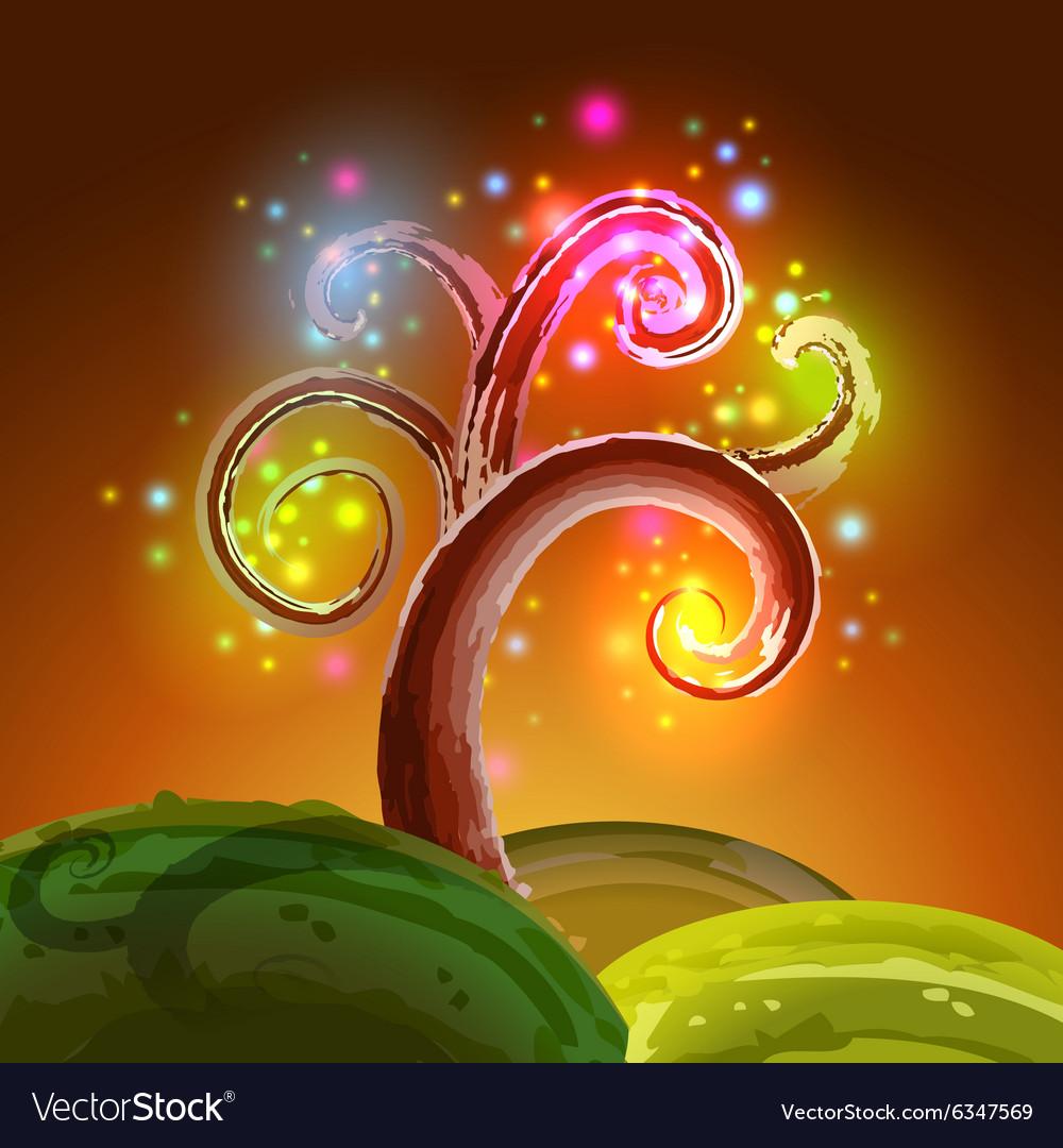 Magic tree lights vector image