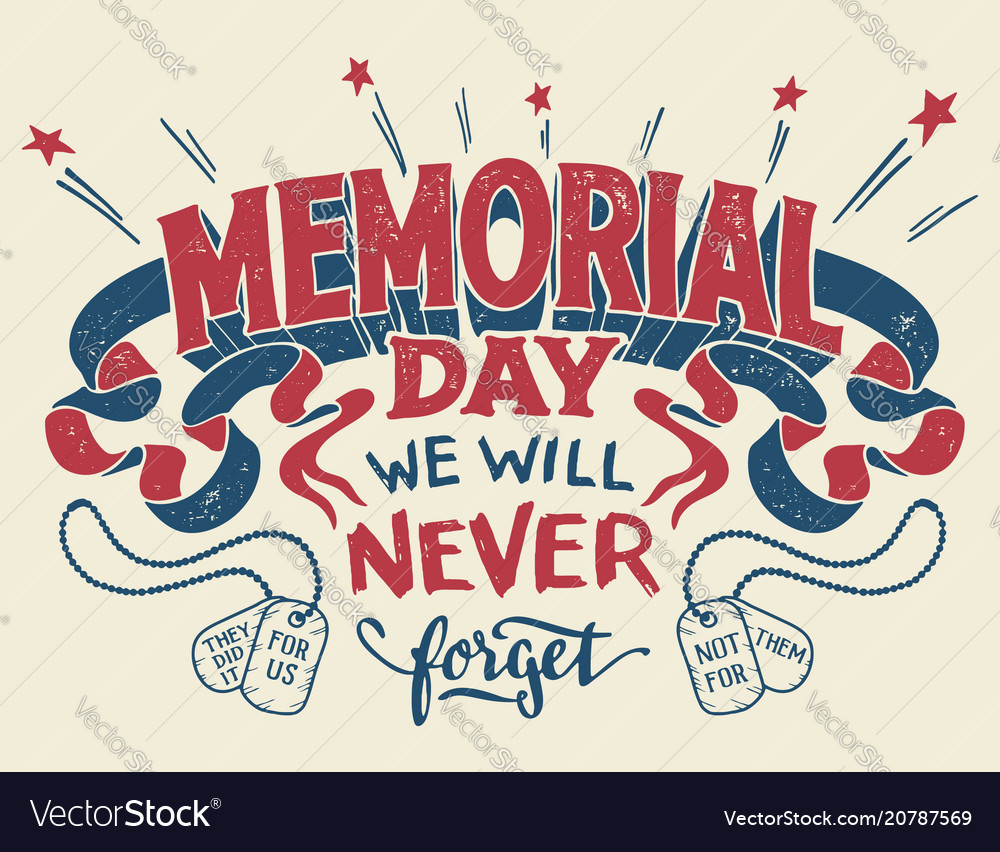 Memorial day hand lettering greeting card