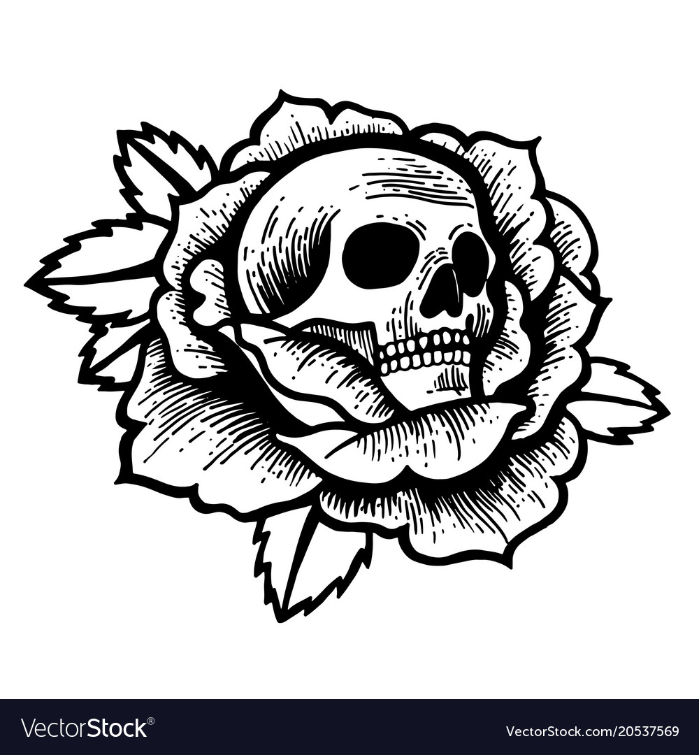 Old School Rose Tattoo With Skull Royalty Free Vector Image