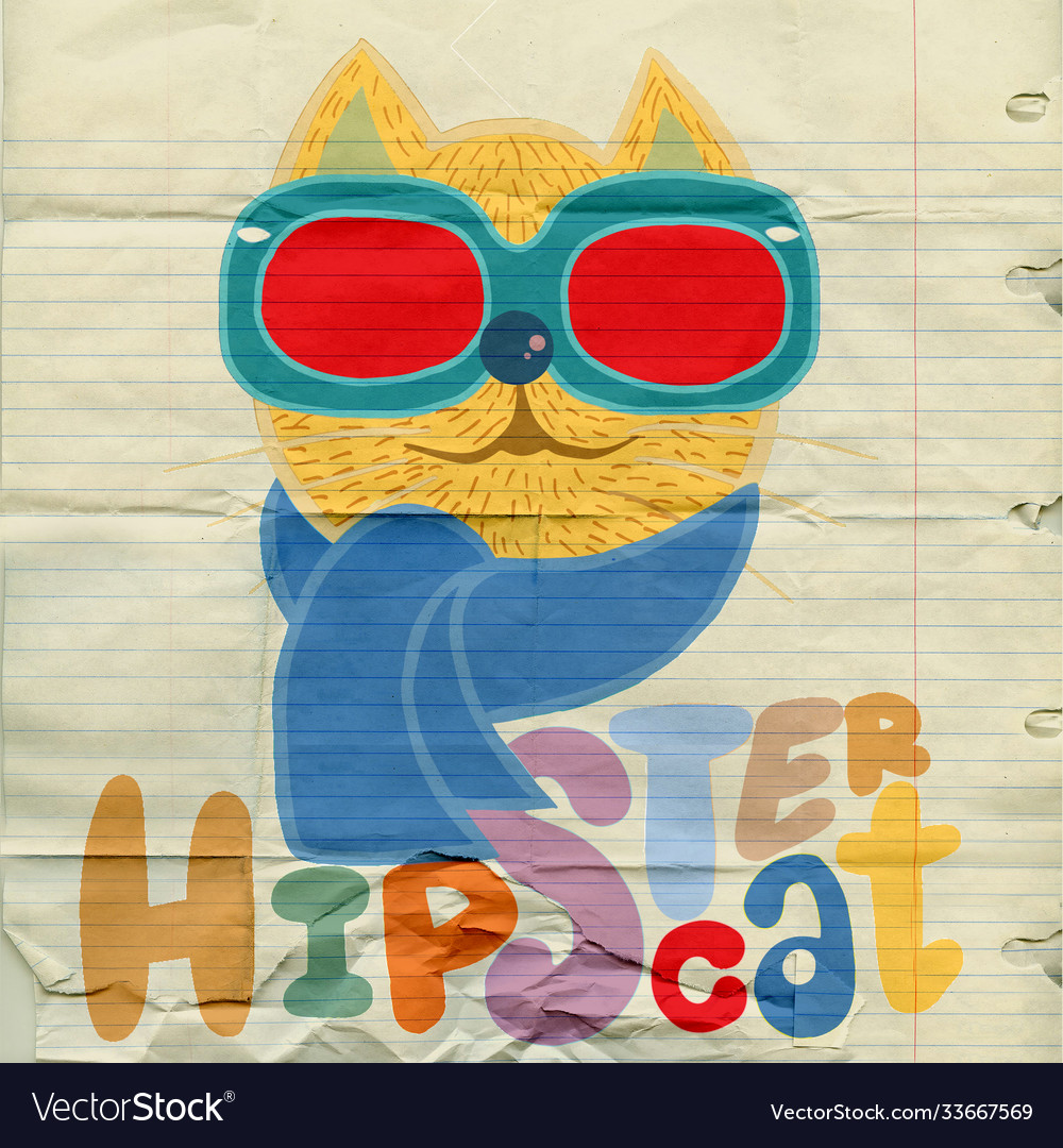 Portrait cat hipster hand drawn animal
