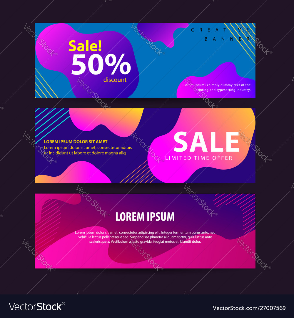 Set abstract modern graphic liquid banners