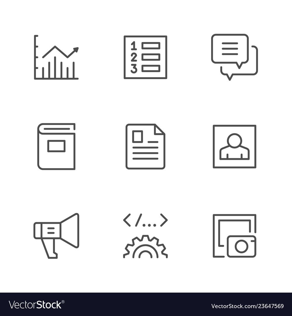 Set line icons of web content