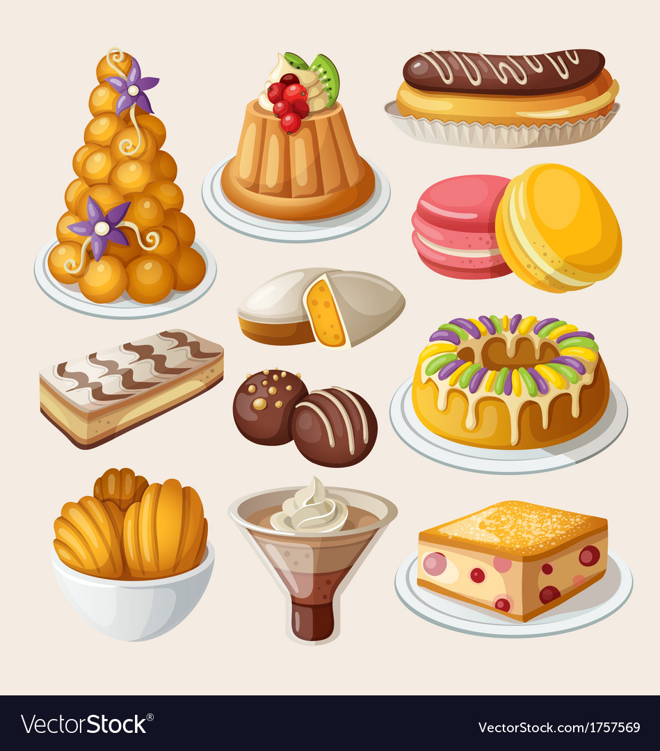 Set of traditional french desserts