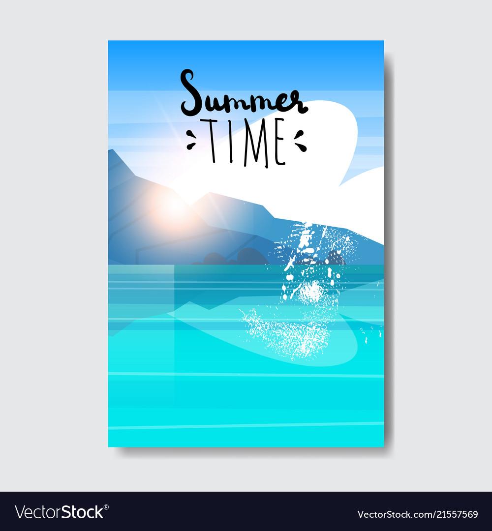 Summer time beach landscape badge design label