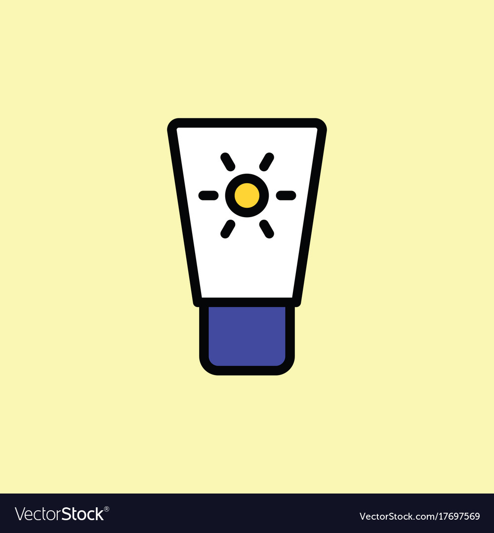 Sunscreen icon thin line on color background