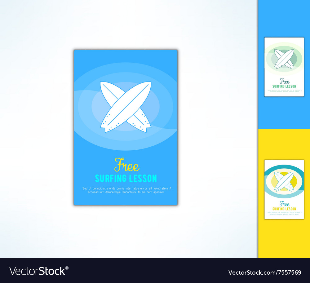 Surfing lesson ad flyer with in modern flat vector image
