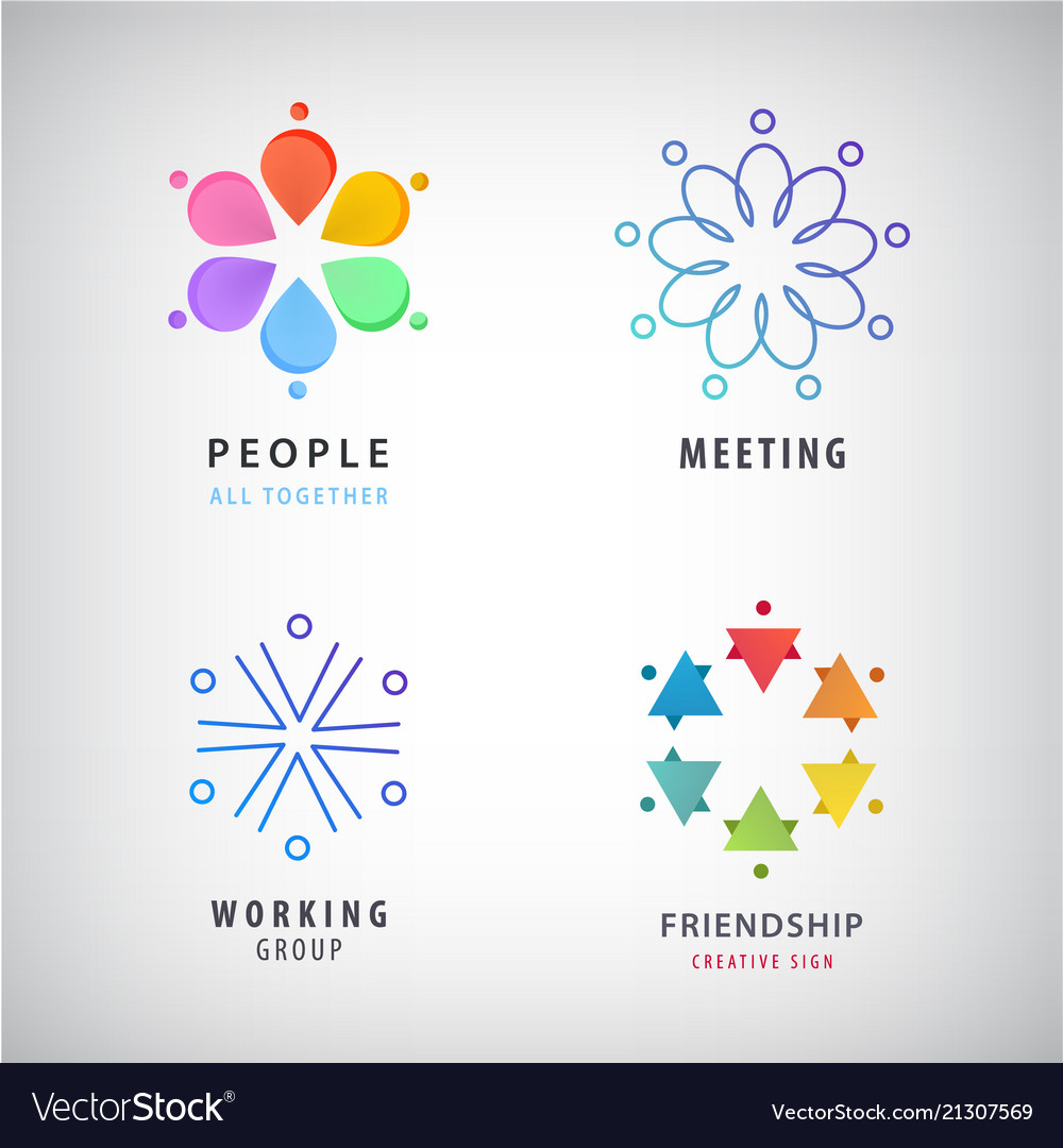 Teamwork social net people together icon