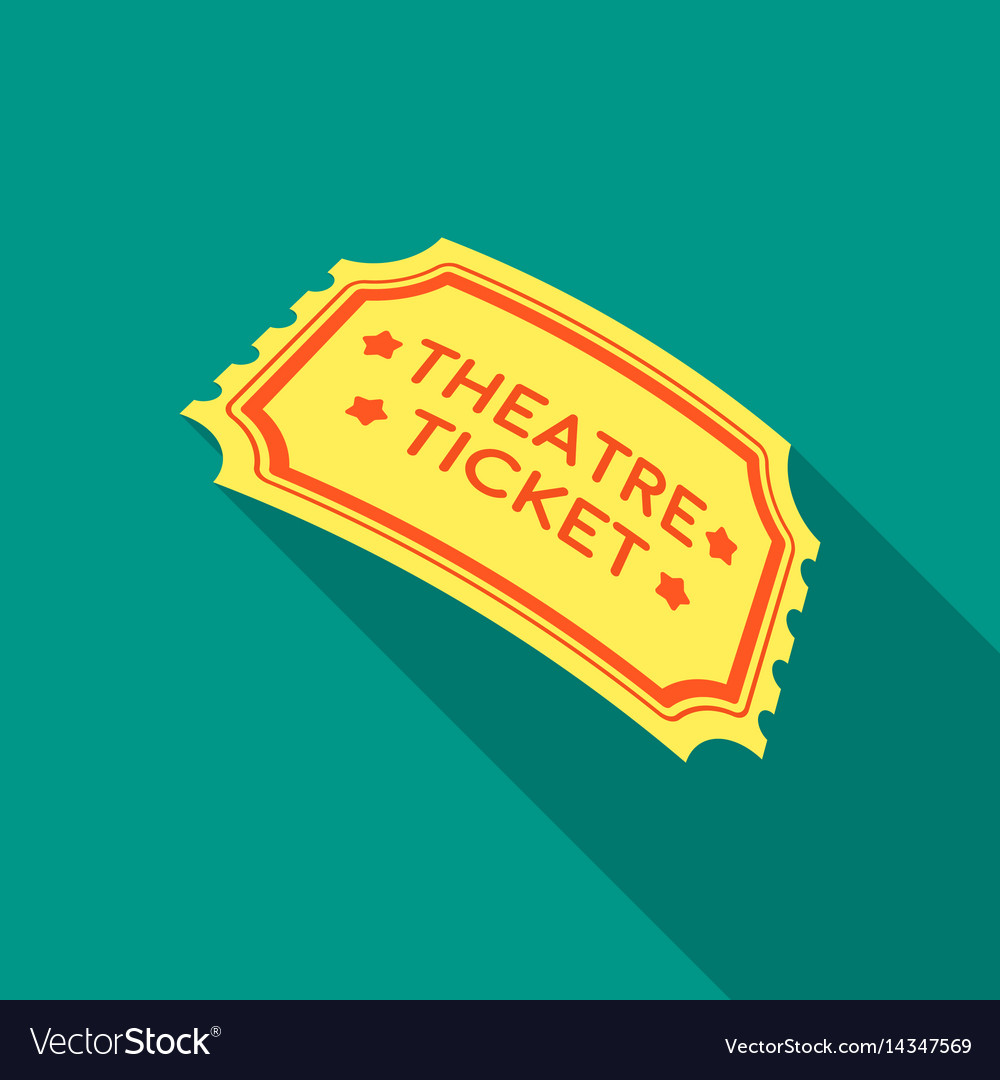 Theatre ticket icon in flate style isolated on