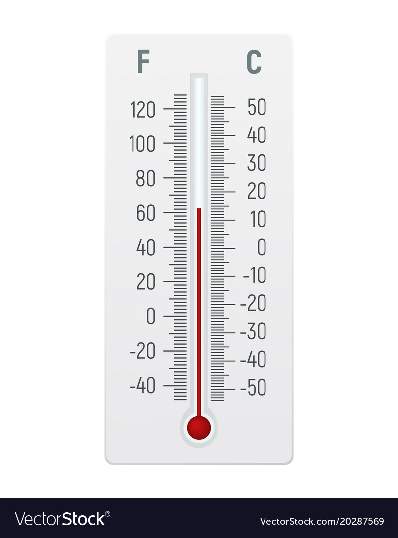thermometer in degrees celsius and fahrenheit vector image