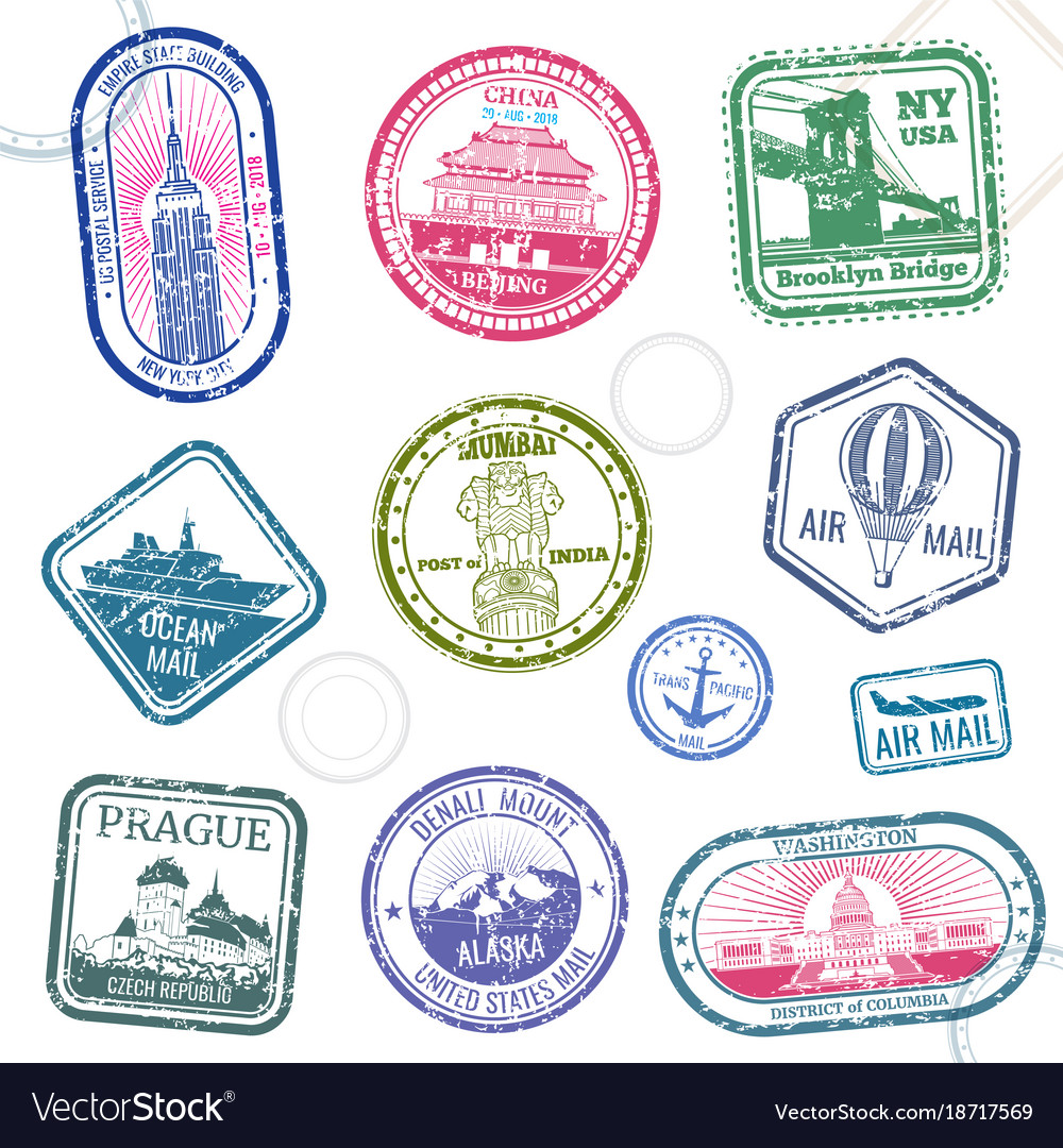 Vintage passport travel stamps with vector image