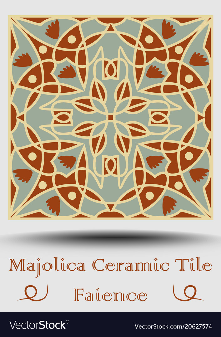 Azulejo Ceramic Tile In Beige Olive Green And Red Vector Image